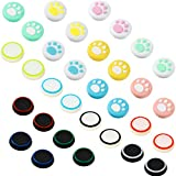 20 Pieces Cute Cat Claw Design Thumb Grip Caps Replacement Paw Thumb Grips Analog Stick Cover Joystick Cap Soft Silicone Cover Compatible with PS5 PS4 PS3 PS2 Xbox 360 Xbox One Controllers