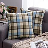 MIULEE Pack of 2 Decorative Throw Pillow Covers Checkered Plaids Tartan Linen Rustic Farmhouse Square Cushion Case for Bench Sofa Couch Car Bedroom Blue and Tan 18x18 inch 45x45 cm
