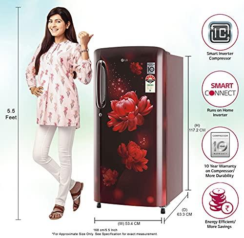 LG 190L 5 Star Smart Inverter Direct-Cool Single Door Refrigerator (GL-B201ASCZ, Scarlet Charm, Fastest Ice Making) 2