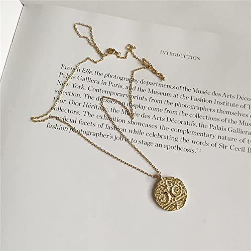 l 925 mujeres de plata esterlina geométrica irregular moneda encanto collar estrella Luna colgante mujeres moda collares de lujo