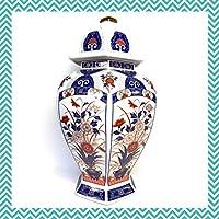 蓋付き 飾り壺 花瓶 陶芸品 壺 40センチ 英和謹製 Eiwa Kinsei アンティーク コレクション アンティーク 骨董品