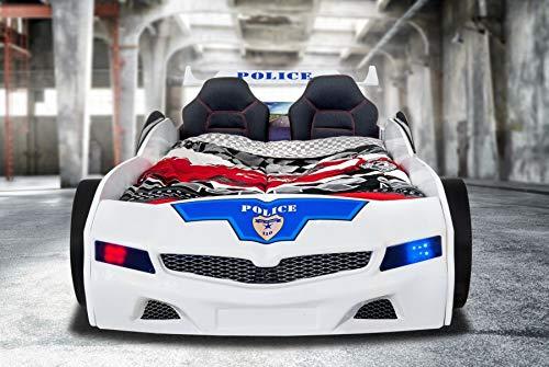 Kinder Autobett Police-Polizei mit blinkendem Blau-Rotlicht Lattenrost + Rost Rubin 26 Leisten (+50 €), Matratze ohne Matratze, Zubehör ohne Zubehör