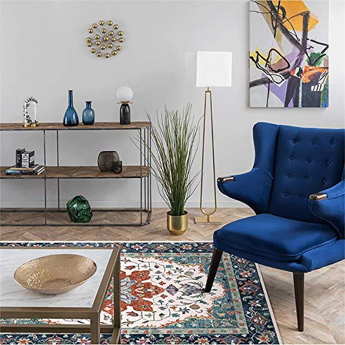 Lanqinglv - Alfombra de terciopelo multicolor con diseño de flores, para salón, dormitorio, vintage, microfibra, E004, 80 x 120 cm