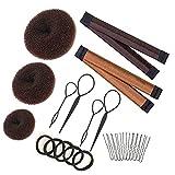 Hair Bun Maker Set Brown/Blonde/Black, The EASIEST Way to Make Buns, 3 Donuts + 2 Snap Bun Makers + 4 Topsy Tail Hair Tool + 5 Hair Elastic Bands + 10 Bobby Pins