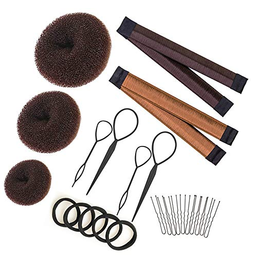 Hair Bun Maker Set Brown/Blonde/Black, The EASIEST Way to Make Buns, 3 Donuts + 2 Snap Bun Makers + 4 Topsy Tail Hair Tool + 5 Hair Elastic Bands + 10 Bobby Pins