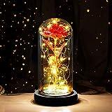 JUSTDOLIFE Rosa Eterna con Brillo Rojo Debajo De La Campana, Rosa Eterna, Rosa Encantada con Luces Led En CúPula De Cristal Ideal para Esposa, DíA de La Madre, Boda