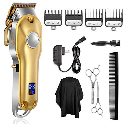 Monlida Cortapelos para Hombre, Máquina de Cortar Pelo Profesional, Cuerpo de Metal, Inalámbrica, Batería 2500mAh y Pantalla LCD