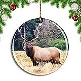 Weekino Estados Unidos América Walden Elk Colorado Decoración de Navidad Árbol de Navidad Adorno Colgante Ciudad Viaje Colección de Recuerdos Porcelana 2.85 Pulgadas