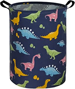 ESSME Dinosaur Laundry Basket Storage Bin large Collapsible Canvas Waterproof Coating Nursery hamper for Toy Bins,Baby hamper ,Gift Baskets ,Boys and Girls ,Kids Room,Home Organizer.(Navy Blue dinosaur)