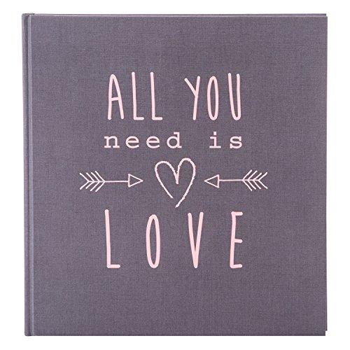 goldbuch 27085 Hochzeitsalbum All you need is love, Fotoalbum mit 60 weißen Seiten und Pergamin Trennblätter, Erinnerungsalbum aus Strukturpapier, Foto Album in Leinenoptik, ca. 30 x 31 cm, Grau