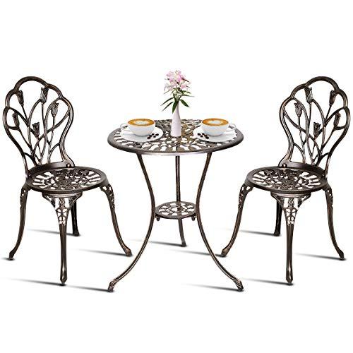 Goplus Gartenmöbel, Balkonmöbel, Balkonset aus Aluminiumguss, Gartenset antik, Gartentisch mit 2 Stühlen, schwarz