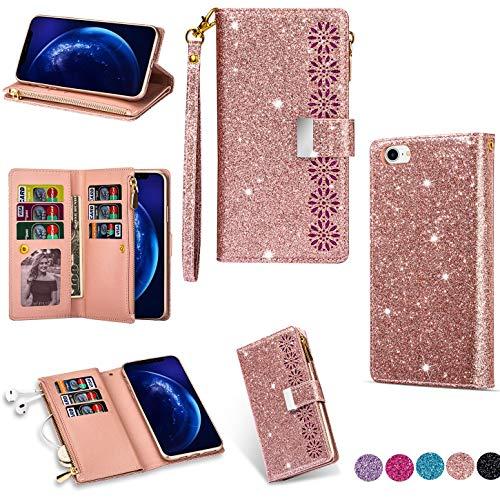 Hancda - Funda para iPhone SE 2020 / iPhone 8 / iPhone 7, funda para teléfono móvil de piel con purpurina, funda con tapa y tarjetero, cierre magnético, color oro rosa
