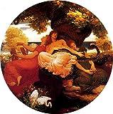 JH Lacrocon Lord Frederic Leighton - Jardín Hespérides Reproducción Cuadro sobre Lienzo Enrollado 60X60 cm - Pinturas Religioso Impresións Decoración Muro