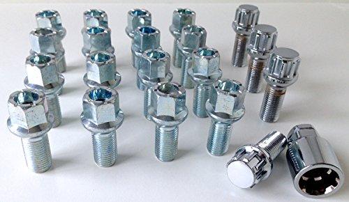 Ensemble de 20 boulons de verrouillage en alliage pour roues - M14 x 1, 5 - Tige filetée de 27 mm de long - Tête hexagonale de 17 mm - Convient aux Audi