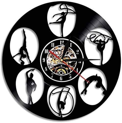 szhao Reloj de Pared de Vinilo Gimnasia Danza Moderna Decoración del hogar Vintage Deportes