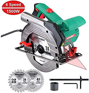 HYCHIKA Circular Saw 12.5A, 6 Variable Speeds, 2200-4700RPM, 2Pcs Blades(24T+ 40T): 7-1/2