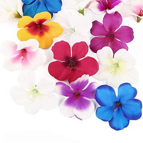 FLOFIA 50pcs Orquídeas Flores Falsa Mini Artificiales Pequeñas de Seda Decoración Cabezas Flores Tela Decoración para Boda Mesa Pelo Ropa Manualidad DIY Craft Caja de Dulce, Multicolor 4.5cm Diámetro