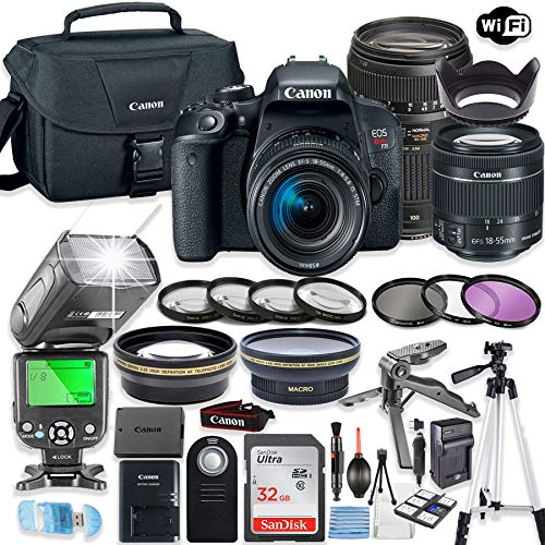 Canon EOS Rebel T7i DSLR Camera Bundle with Canon EF-S 18-55mm STM Lens & Tamron 70-300mm Zoom Lens + 32GB Sandisk Memory + Canon Case + TTL Speedlight Flash (Good Upto 180 Feet) + Accessory Bundle