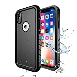 Cozycase Cover Subacquea iPhone X/XS, Custodia Impermeabile iPhone X/XS, IP68 Certificato Waterproof Cover Slim Subacquea Caso Full Protezione Custodia Protettiva per Apple iPhone X/XS (Nero)