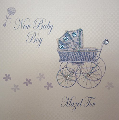 White Cotton Cards New Baby Boy Mazel Tov Jüdische, kinderwagen, handgemaakt, blauw