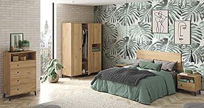 Increíble pack de muebles de habitación de estilo industrial compuesto por un cabecero de 160 cm, apto para camas de 135 cm y 150 cm, 2 mesitas con 1 cajón y 1 hueco, una bonita cómoda de 4 cajones y 1 hueco, y un amplio armario ropero con 4 puertas ...