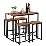 Bonnlo Pub Table Set 5 Pieces Bar Height Table with 4 Bar Stools Dining Table Set with Metal Frame,Pub Dining Set for Kitchen,Dining Room,Living Room,Pantry Room