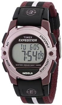 Timex Unisex T49659 Expedition Mid-Size Digital CAT Plum Stripe Nylon Strap Watch