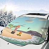 人気 フロントガラスカバー あつまれ どうぶつの森8 (4) 凍結防止シート 車用サンシェード 遮熱 内蔵吸盤 強力付着 防風 防水 取付簡単 四季通用