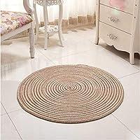 手織りの快適な楕円形の敷物、リビングルームの敷物、円形のニットの敷物、子供用プレイテントのフロアマット、クロークの敷物と敷物-100cm_Light Camel