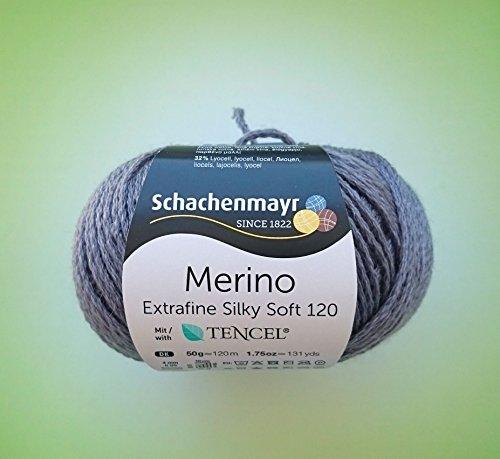 Schachenmayr 50 Gramm Merino Extrafine Silky Soft 120 Fb. 549 Pflaume aus 68 % Schurwolle, 32 % Lyocell