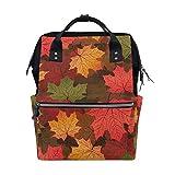 Red Autumnal Leaves School Backpack Bookbag Travel Shoulder Stylish Large Capacity Diaper Bags