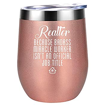 Realtor Gifts for Women Real Estate Agent Gifts - Funny Gifts for Realtor Best Realtor - Birthday Thank You Closing Gifts for Realtor Salesperson New Realtor Broker - Coolife Wine Tumbler Cup
