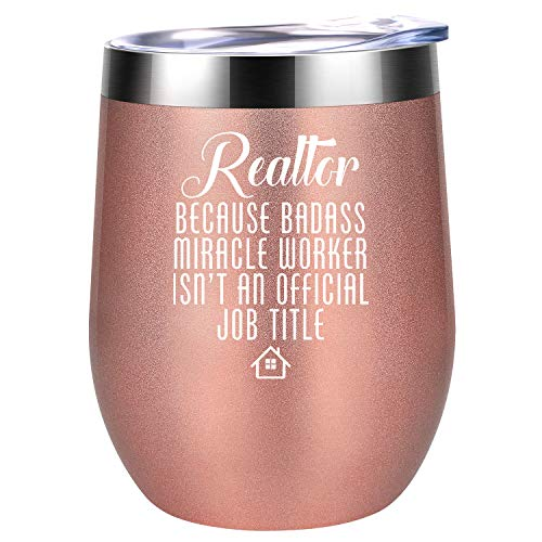 Realtor Gifts for Women, Real Estate Agent Gifts - Funny Thanksgiving, Christmas, Birthday, Thank You, Realtor Closing Gifts for Best Realtor, Salesperson, New Realtor, Broker - Coolife Wine Tumbler