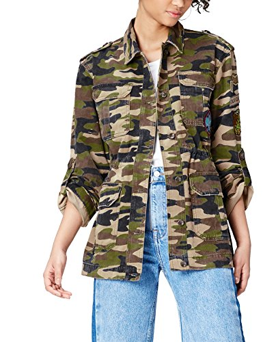 find. Patch Detail Camouflage, Chaqueta Mujer, Multicolor (Camo Green), XS
