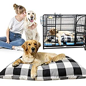 """Pet Dog Pillow Bed Large Washable Dog Bed for Large Dog Bed Mat Thick Cotton Linen Chew Proof Crate Mat Dog Pillow Bed With Removable Cover Jumbo Dog Kennel Pad For Medium Large Dogs (L(35.5""""×24""""))"""