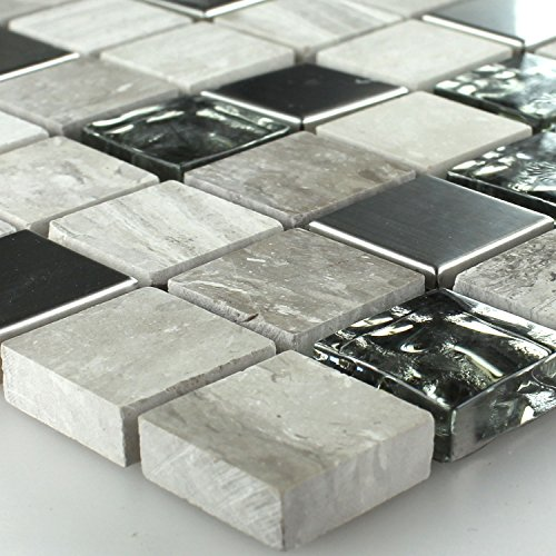 Mosaikmatte Glas-Edelstahl Grau