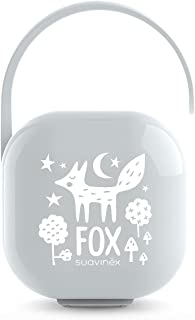 SUAVINEX Fopspeen houder voor baby's, voor 2 fopspenen, tas voor fopspeen, 307198, grijs