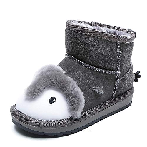 Botas cálidas Niños Invierno al Aire libreCute Cartoon Girls Snow Boots Plus Velvet Warm Short Boots Niños Bebé Botas de algodón-Gris_28Botas de Nieve para Caminar para niños Inviern