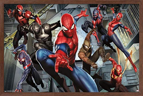 Trends International Marvel Comics - Spider-Man - Ultimate Characters Wall Poster, 22.375' x 34', Mahogany Framed Version