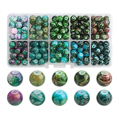 Harilla 200 Cuentas de Vidrio con Caja de Almacenamiento Cuentas Redondas de 8 mm con Orificios para Suministros de Collares de Abalorios de Bricolaje - Degradado Azul Verde
