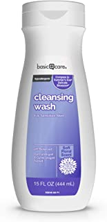 Amazon Basic Care Daily Feminine Cleansing Wash for Sensitive Skin, Hypoallergenic, Soft Petal Scent, 15 Fluid Ounces