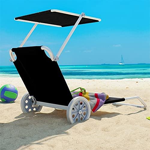 DYCLE Tumbonas con Ruedas, Tumbona abatible reclinable con toldo y Respaldo Ajustable, Silla portátil de Exterior para Patio jardín Playa de Arena