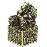 風水の九龍金璽、九龍金印、九龍金庫印、九龍玉璽と呼ばれる龍の置物、銅製です。 璽とは中国の皇帝が用いることのできる印、章のことです。 そのパワーや権威は絶大、絶対的なものであったらしいです。 今回入荷しました置物は、九匹の龍が鎮座したものであり、龍がそのパワーをアップさせ、守護するといったものです。 持ち主の仕事運、金運、財運を引き上げ、お金にまつわる厄災、魔から守ってくれるといわれています。 【大きさ】 高さ約17.5cm 幅約9.6cm 【材 質】 銅製 ※画像環境や撮影条件により、実物と写...