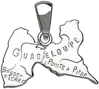 Bijoux Laperledargent Pendentif Plaqu/é Or Carte Guadeloupe