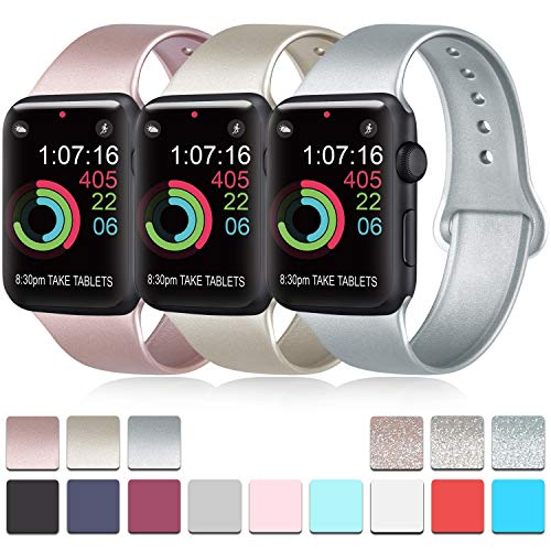 Pack 3 Compatible with Apple Watch Band 38mm 40mm 42mm 44mm, Soft Silicone Band Replacement for Apple iWatch Series 5, Series 4, Series 3, Series 2, Series 1 (.Rose Gold/Gold/Silver, 38mm/40mm-S/M)