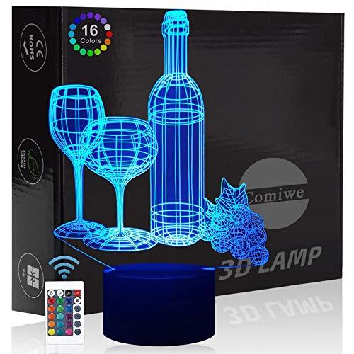 Comiwe Weinglas 3D Illusion Nachtlicht Spielzeug,Dekoration LED Nachttischlampe 16 Farben Ändern mit Fernbedienung,Weihnachten Deko Lampe Geburtstagsgeschenk Für Bar Esszimmer Familie und Freunde