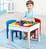 Brigamo 3in1 Bausteine Spieltisch Sitzgruppe, Kindertisch mit 4 integrierten Bauplatten für Konstruktionsspielzeug & Stühle