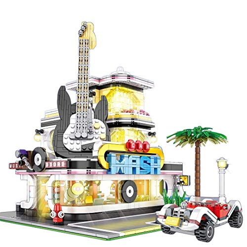 XXH 2168 piezas de bloque de construcción modelo de casa de guitarra esquina kit de construcción de casa con iluminación compatible con Creator Expert