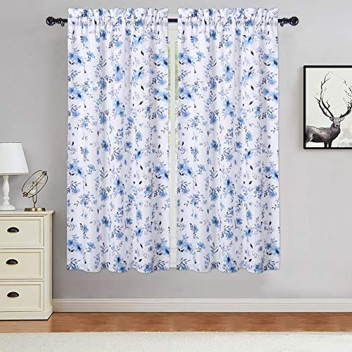 Haperlare Floral Tier Curtains for Living Room 45 inches Long, Watercolor Flower Bathroom Window Curtain Chic Leaf Pattern Half Window Covering Kitchen Cafe Curtains, Blue/Purple, Set of 2
