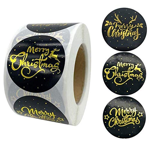 Johiux 500pcs Round Merry Christmas Stickers Thank You Card Gift Box Package Seal Label,for DIY Handmade Greeting Cards, Parcels, Candy Bags, Gift Wraps Package Seal Label (Big Black, 500)